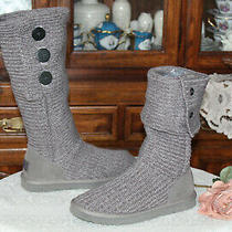 Ugg  Classic Cardy Women Knit Boots Gray 5819 Size Us 10 Photo