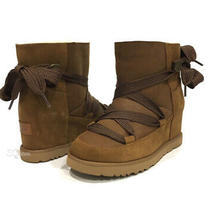 Ugg Classic Femme Lace-Up Ankle Boots -Chestnut Brown Suede -Hidden Heel -Us 7 Photo