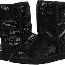 Ugg Classic Short Comsos Sequin Women Boots - Black/gunmetal Us Size 7 Photo