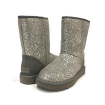 Ugg Classic Short Ii Foil Glam Womens Boots Grey Metallic Suede -Us Size 9 -New Photo
