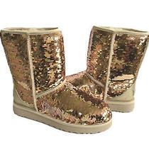 Ugg Classic Short Sequin Sparkles Gold Combo Boots Us 6 / Eu 37 / Uk 4  - Nib Photo