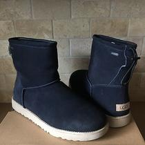 Ugg Classic Toggle Waterproof True Navy Blue Suede Fur Short Boot Size 12 Mens Photo