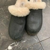 Ugg Clogs Australia Black Leather Sheepskin Clogs Shoes Women's Size 6 Photo