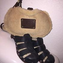 Ugg Clogs Australia Mules Black Leather Lined Brown Wood Sole Size 5 W Bag New Photo