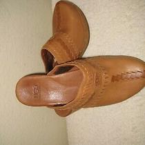 Ugg Clogs Leather Mules Wooden Heels Studded  Tan Leather Size 7 Photo