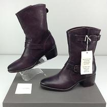 Ugg Collection Conchetta Wine Leather Boots 6 B Buckled Strap Photo