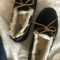 Ugg Dakota Moccasin Black Slipper Women Size 8 Excellent Used Condition Photo