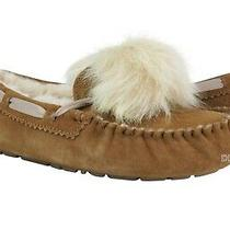 Ugg Dakota Pom Pom Chestnut Suede Fur Slippers Womens Size 9 Nib Photo