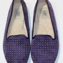 Ugg Dark Purple Suede Leather Studded Flats Shoes Womens Sz 7  Photo