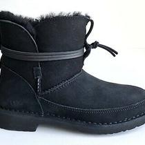 Ugg Esther Black Suede Sheepskin Lace Bootie Women's Boots Us Size 7 Photo