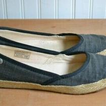Ugg Flat Indah Burlap Canvas Black/gray Ballet Back-Lace-Up Shoes 6.5 6 1/2 Photo