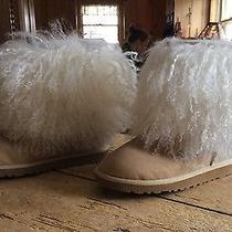 Ugg Fur Cuff Sheepskin Sand Boot Us 7 Eu 38 uk5.5 Wild and Fluffy Mongolian Photo