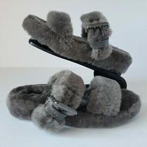 Ugg Fuzz Yeah Sheepskin Slipper Slide Sandals 1104662 Charcoal Size 5 Womens  Photo