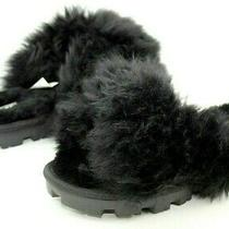 Ugg Fuzzalicious Black Color Cross Strap Sheepskin Slippers Size 8 Us Womens Photo