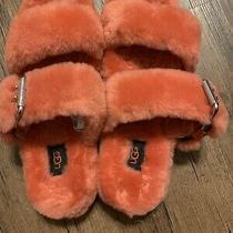 Ugg Fuzzy Slippers Fuzz Yeah Slides Orange Coral Mariposa Size 10 Women's Nwob Photo