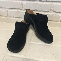 Ugg Gael Black Leather Shearling Rubber Wedge Clogs Knit Trim Mules Shoes Sz 11 Photo