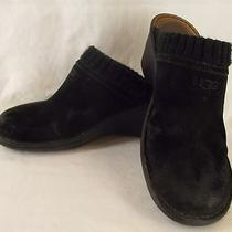 Ugg Gael Suede Wedge Clogs Mules Sz 10 Black Sheepskin Lining 1934 Photo