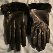 Ugg Genuine Dyed Shearling Trimmed Leather Glove Size M Black (3) Photo