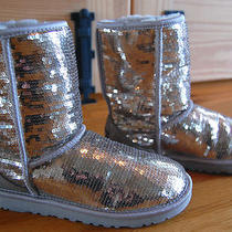 Ugg Genuine Sparkles Silver Women's 6 Sequins 3161  Rv 190 Classic Worn Once Photo