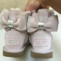 Ugg Girl Ice Pink Boots Shoes Size 10 Us 27 Eu Bow Photo