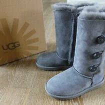 Ugg Girls Bailey Button Triplet Tall Boots in Grey Size 13 Nib Photo