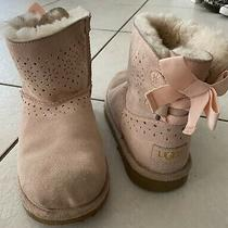 Ugg Girls Pink Suede Bow Fur Boots Size 4 Photo