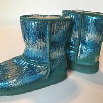 Ugg Girls Sz 3 Classic Sparkle Wave Blue Sequins Boots Photo