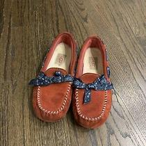 Ugg Girls Youth Kids Size 12 Red Moccasin Shoes Slip on Slippers Ryder Bandana Photo