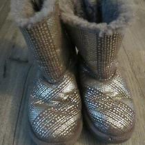 Ugg Gray Glitter  Bowed Back Boots Sz 3 Preowned  Photo