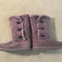 Ugg Gray Sheepskin Fur Bailey Triple Button W Size 6 Boots Photo