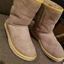 Ugg Grey Boots With Yellow Trip W Size 8 Genuine Sheepskin Photo