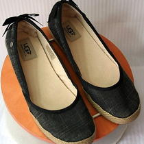 Ugg Indah Womens Canvas Slip on Black Ballet Flats Style 1003493 Us 8 / Eu 39.0 Photo