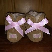 Ugg Infant Boots Size 0/1 Jesse Pink Bow Chestnut Baby Suede New With Out Box Photo