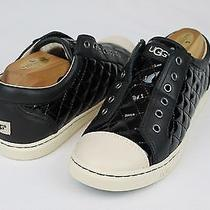Ugg Jemma Quilted Patent Leather Black Fashion Sneaker Tennis Shoe Size 8 Us Photo