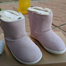 Ugg Keelan Toddler Baby Pink Sparkle Sheepskin Suede Boots Size 7 Photo