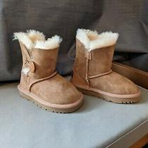 Ugg Kids Bailey Button Ii Chestnut Suede Sheepskin Boots Photo