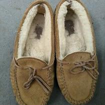 Ugg Kids Dakota Suede Moccasin Slippers Big Kid's Size 2 Chestnut.  Brand New. Photo