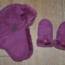 Ugg Kids Girls Aviator/trapper Hat and Mittens Set Size 2-6 Guc Photo