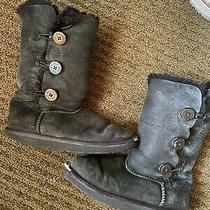 Ugg Kids Girls Black Bailey Button Boots Button Sherpa Lined Fuzzy Pull on 4 Photo