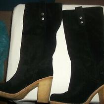 Ugg Knee Blk Suede Boots Fold Down Cuff Women's  Sz. 5.5 B / Nice and Clean  Photo