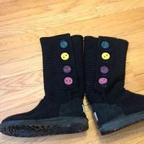 Ugg Knit Black Boots Youth Size 5 Like Brand New Photo