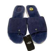 Ugg Laycie Geo Perf Womens Blue Sheepskin Slippers Size 9 Photo