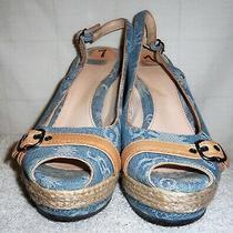 Ugg Leather &  Light Blue Denim Sandal  Wedge Sandal Size 7 Euc Photo