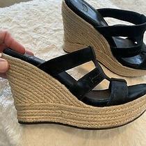 Ugg Leather Suede Wedge Sandal  Black  Size 8 Photo