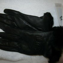 Ugg Leather Tech Gloves Shearling Fur Cuff Wool Cashmere Lining Black S New Photo