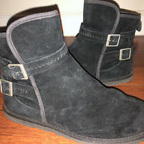 Ugg  Leni Boots Size 9 Leather Suede Buckle Strap Ankle Black Bootie Photo