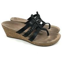 Ugg Maddie Black Leather T-Strap Cork Wedge Sandals Braid Womens Size 9 Photo