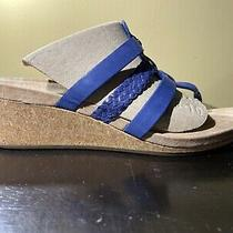 Ugg Maddie Blue Leather Wedge Open Toe Sandal Size 9 Photo