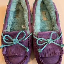Ugg Mandie Purple Reign Suede Mocassins Loafers Flats 1003799 Womens 5 Rare Photo