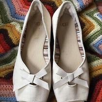 Ugg Marleigh Peep-Toe Espadrille Flats Size 8 Antique White Photo